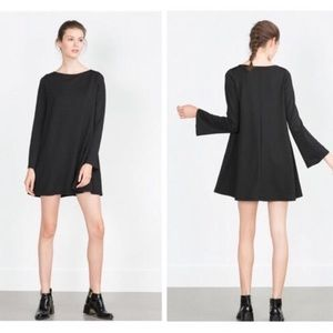 zara Gray Stretch Drop Waist Bell Sleeve Dress